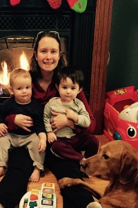 Dr. Linda Johnson with her two sons Findlay and Theo and their dog Ellie